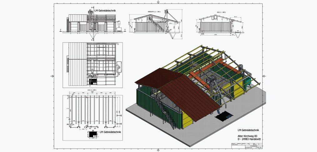 Flachlagerhalle von LM Getreidetechnik
